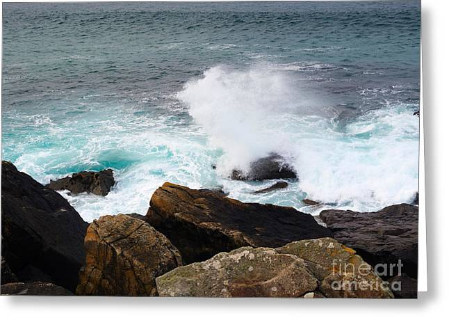 Stormy Weather Greeting Cards - Breakers and Rocks Greeting Card by Louise Heusinkveld