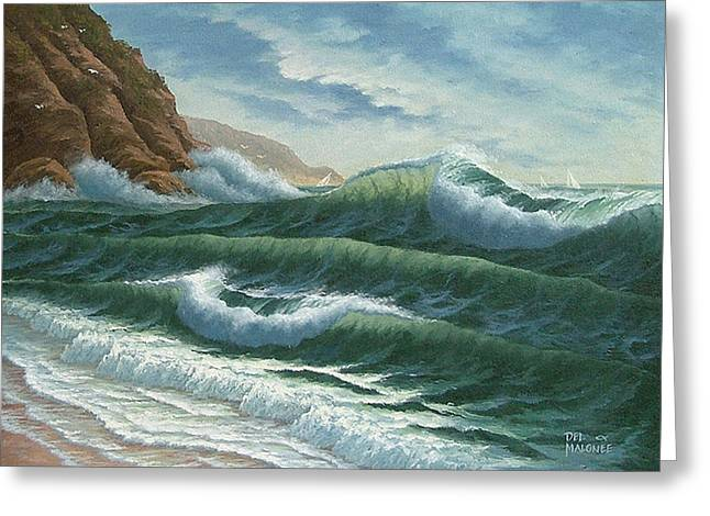 Seagull Greeting Cards - Breakers at Big Sur Greeting Card by Del Malonee