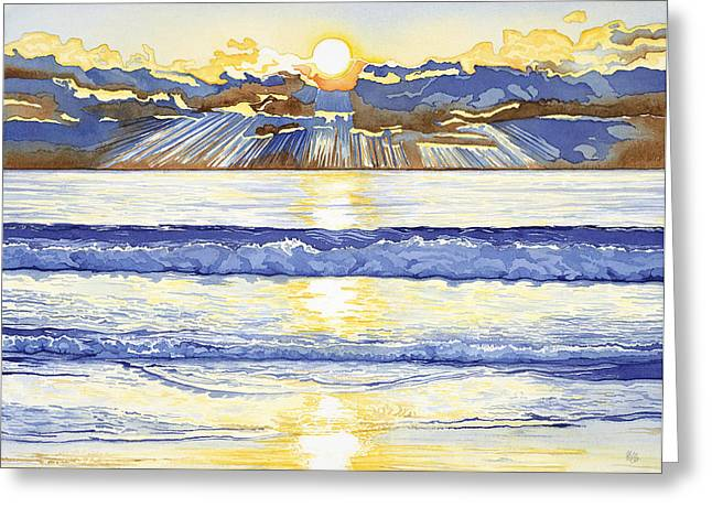 Sun Rays Paintings Greeting Cards - Breakers at Sunset Carmel Greeting Card by Kerry Van Stockum