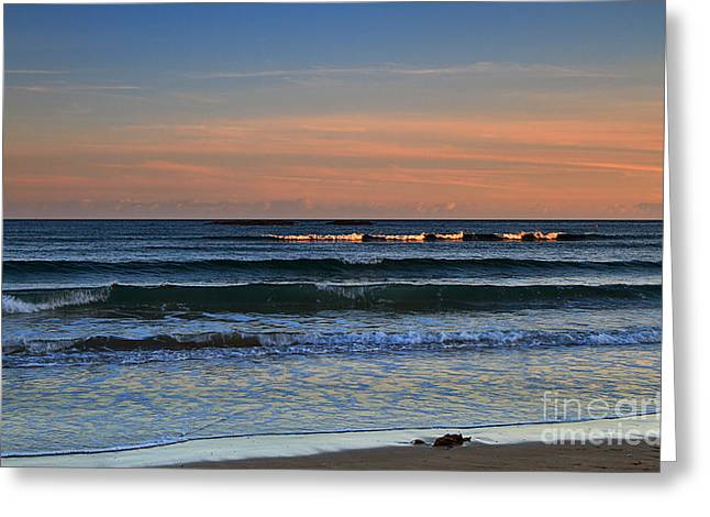 Incoming Tide Greeting Cards - Breakers at Sunset Greeting Card by Louise Heusinkveld