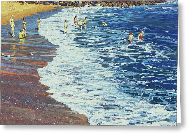 Natural Beauty Paintings Greeting Cards - Breakers Greeting Card by Martin Decent