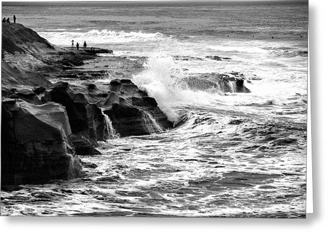 La Jolla Surfers Greeting Cards - Breakers Greeting Card by Peter Tellone