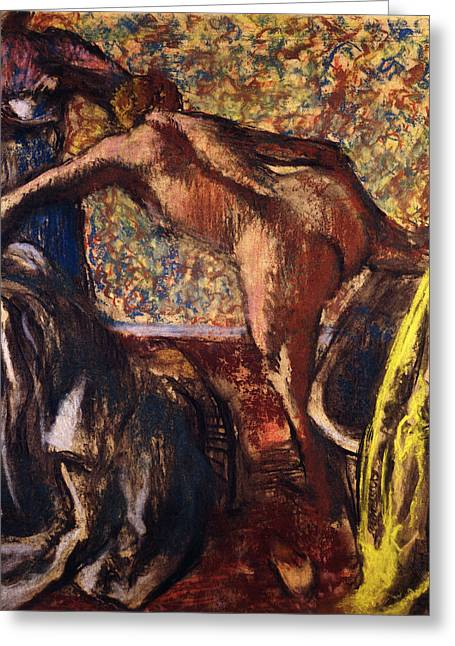 Back View Greeting Cards - Breakfast after the Bath Le Petit Dejeuner apres le Bain Greeting Card by Edgar Degas
