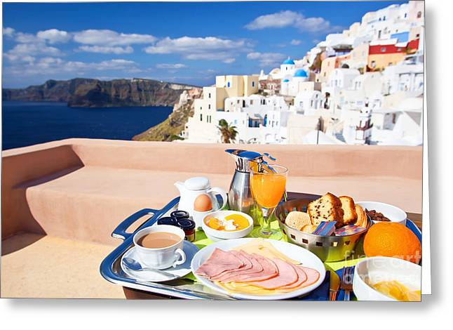 Residential District Greeting Cards - Breakfast at terrace Greeting Card by Aiolos Greek Collections