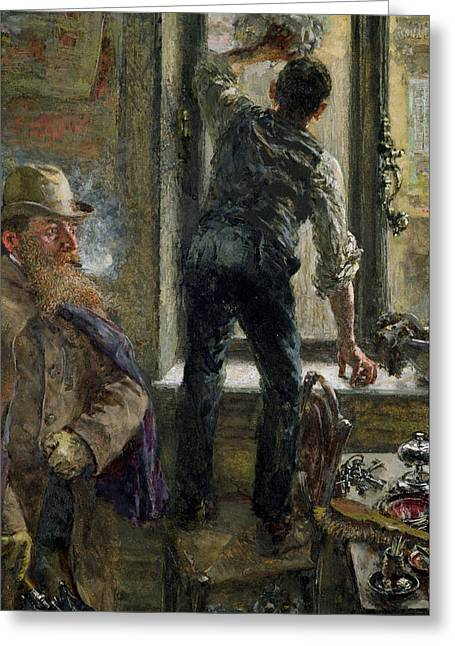Duster Greeting Cards - Breakfast At The Cafe, 1894 Gouache On Paper Greeting Card by Adolph Friedrich Erdmann von Menzel