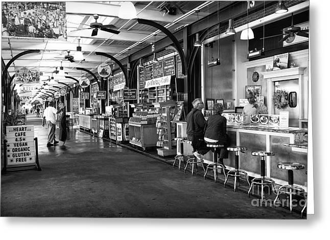 Breakfast At The French Market Mono Greeting Card by John Rizzuto