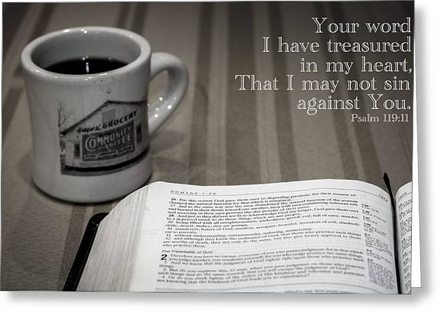 Scripture Reading Greeting Cards - Breakfast Bible Study Greeting Card by Andy Crawford