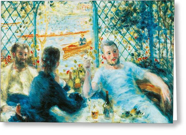 Conversing Paintings Greeting Cards - Breakfast by the river Greeting Card by Pierre-Auguste Renoir