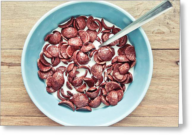 Blue Bowl Greeting Cards - Breakfast cereal Greeting Card by Tom Gowanlock