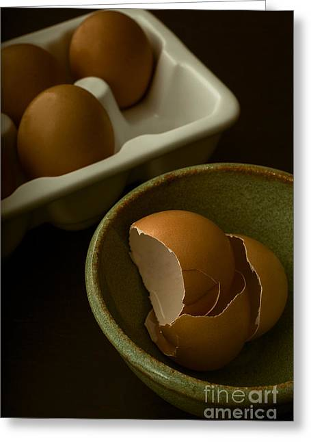 Cracked Eggs Greeting Cards - Breakfast Greeting Card by Edward Fielding