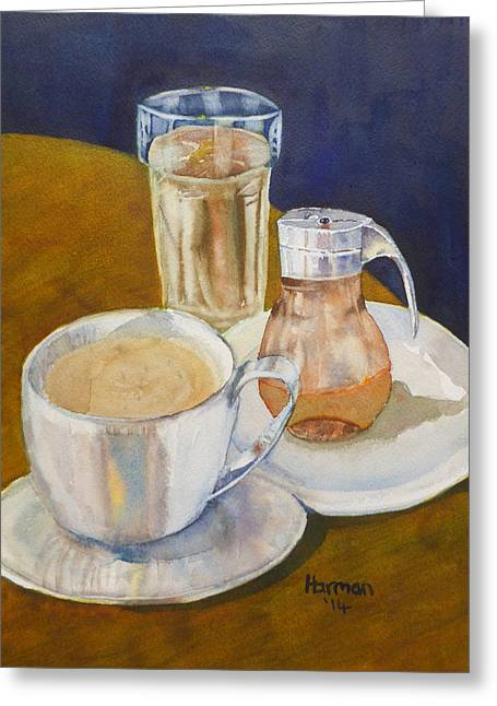 Water Jug Greeting Cards - Breakfast for One Greeting Card by Melanie Harman