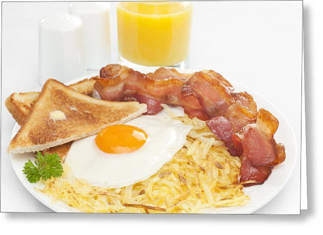 Toast Photographs Greeting Cards - Breakfast Hash Browns Bacon Fried Egg Toast Orange Juice Greeting Card by Colin and Linda McKie