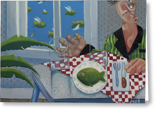 Pajamas Greeting Cards - Breakfast In Barbados 1989 Greeting Card by Larry Preston