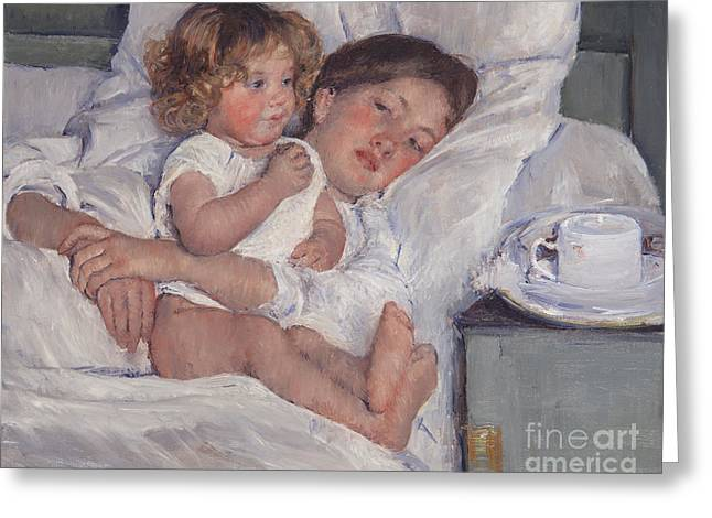 Cassatt Paintings Greeting Cards - Breakfast In Bed Greeting Card by Mary Cassatt