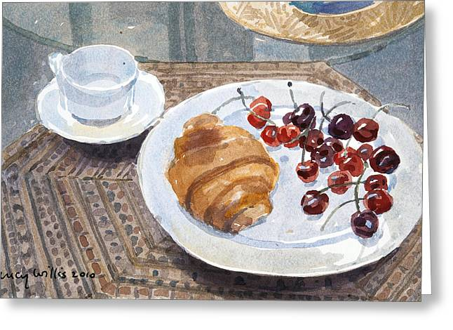 Breakfast Photographs Greeting Cards - Breakfast In Syria, 2010 Wc On Paper Greeting Card by Lucy Willis
