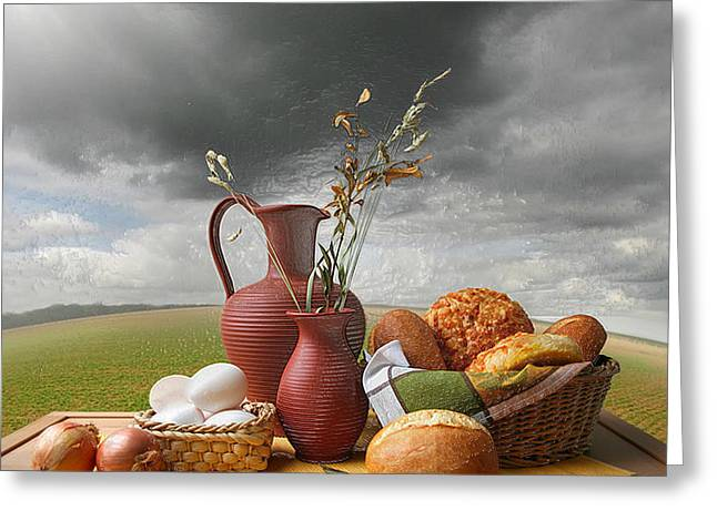Red Wine Prints Greeting Cards - Breakfast Outdoors Greeting Card by Still Life
