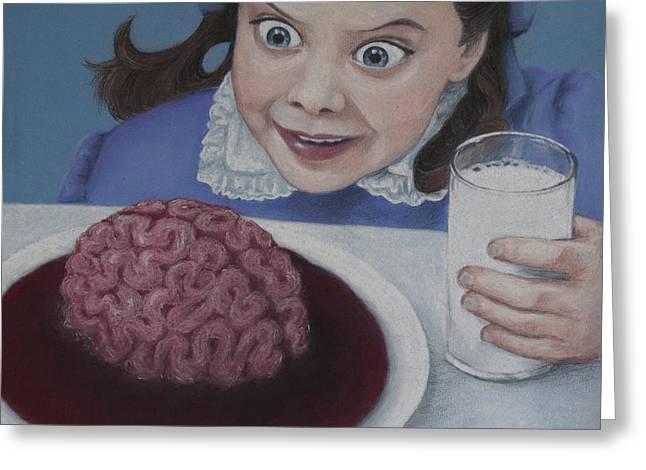 Creepy Pastels Greeting Cards - Breakfast Greeting Card by Paulie Polka