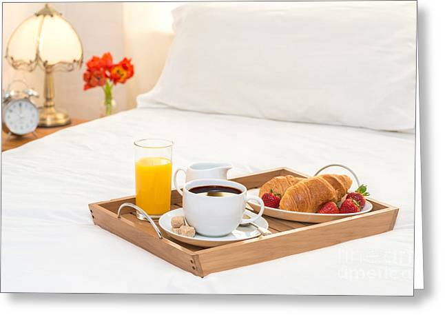 Breakfast Photographs Greeting Cards - Breakfast Served In Bed Greeting Card by Amanda And Christopher Elwell
