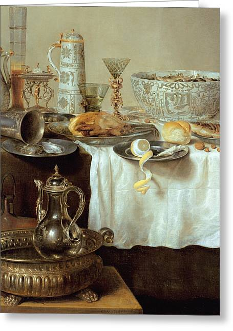 Silver Pitcher Greeting Cards - Breakfast Still Life Greeting Card by Willem Claesz Heda