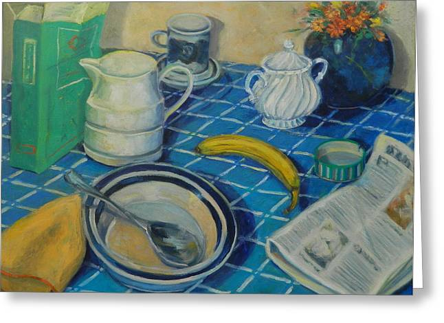 Checked Tablecloths Paintings Greeting Cards - Breakfast StillLife Greeting Card by Bonnie Wilber