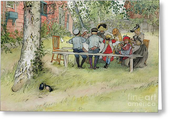 Fresco Greeting Cards - Breakfast under the Big Birch Greeting Card by Carl Larsson