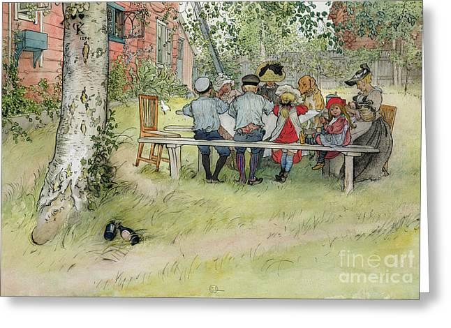 Breakfast under the Big Birch Greeting Card by Carl Larsson