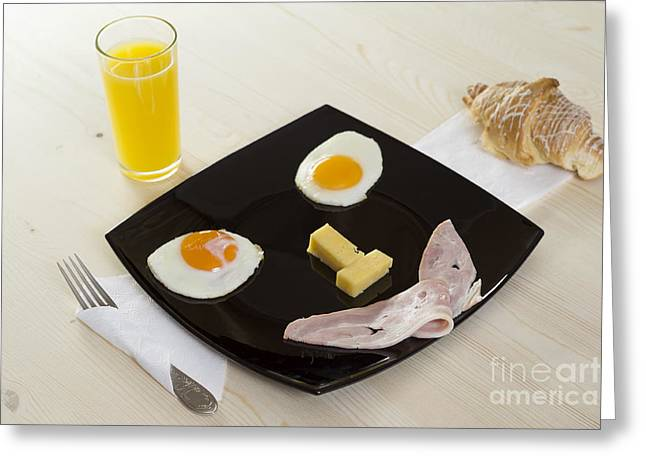 White Cloth Greeting Cards - Breakfast with juice - smile Greeting Card by Konstantin Smirnov
