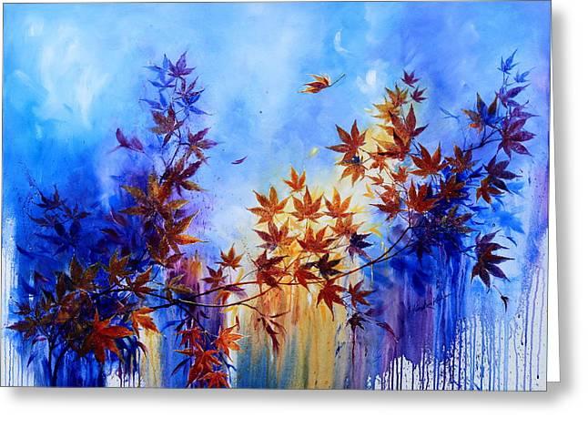 Trees In Autumn Greeting Cards - Breaking Away Greeting Card by Hanne Lore Koehler