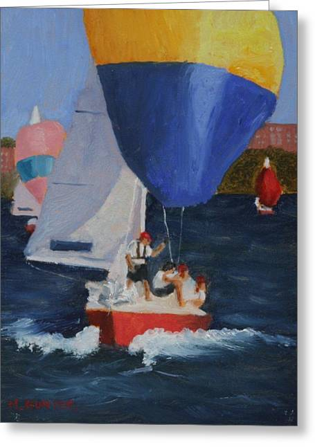 Sailboat Images Paintings Greeting Cards - Breaking Away Greeting Card by Mark Hunter
