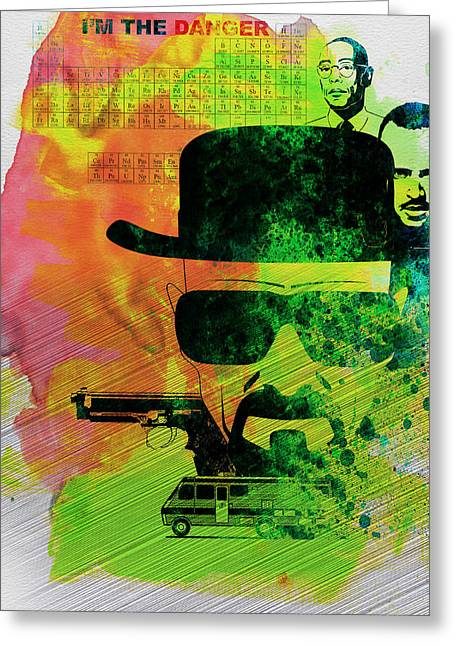 Breaking Greeting Cards - Breaking Bad Watercolor Greeting Card by Naxart Studio