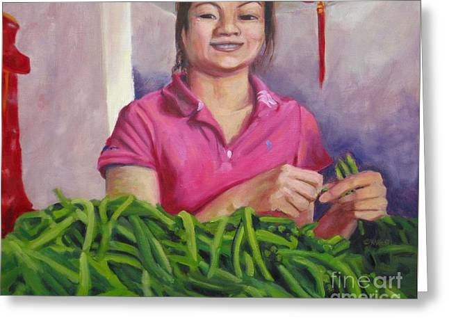 Green Beans Paintings Greeting Cards - Breaking Beans Greeting Card by Katrina West