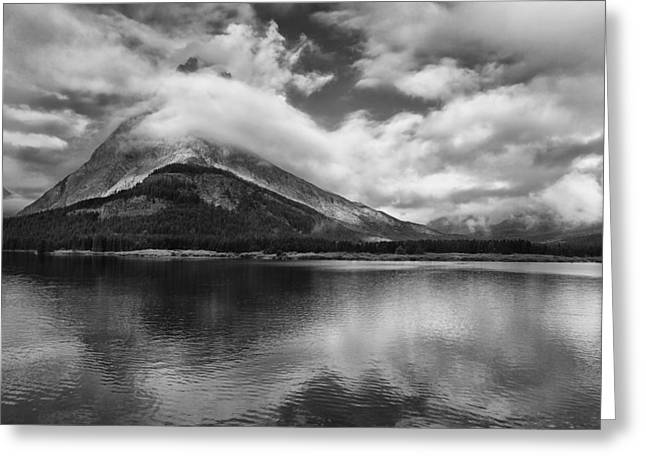 Many Glacier Greeting Cards - Breaking Clouds Greeting Card by Andrew Soundarajan