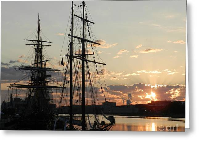 Wooden Ship Greeting Cards - Breaking Daylight Greeting Card by Snapshot  Studio