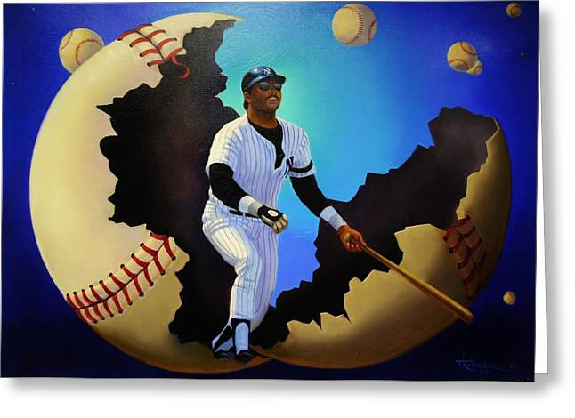 Baseball Murals Paintings Greeting Cards - Breaking Out with Regie Greeting Card by Thomas Kolendra