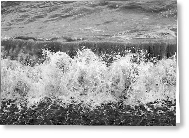 Beach Photos Digital Greeting Cards - Breaking Sea Wave - Black and White Greeting Card by Natalie Kinnear