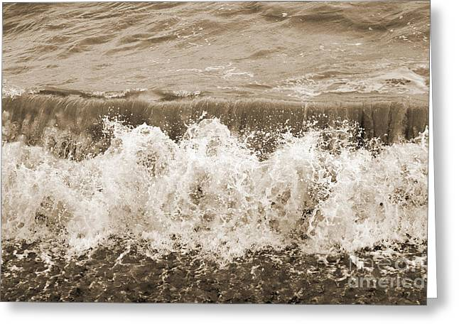 Lounge Digital Greeting Cards - Breaking Sea Wave - Sepia Greeting Card by Natalie Kinnear