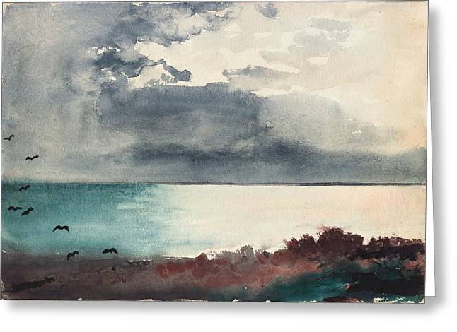 Maine Beach Paintings Greeting Cards - Breaking Storm Coast of Maine Greeting Card by Winslow Homer