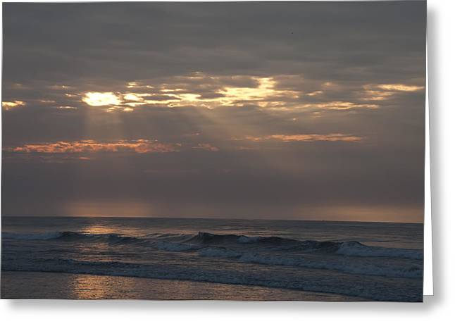 On The Beach Digital Greeting Cards - Breaking Sun on the Beach Greeting Card by Bill Cannon