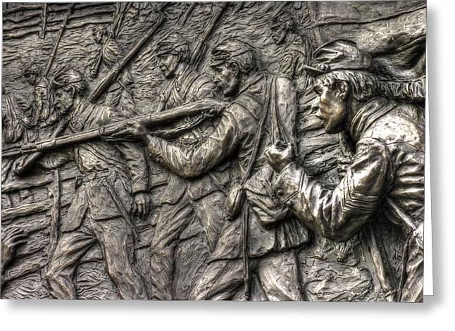 Aotp Greeting Cards - Breaking the Advance.  State of Delaware Monument Detail-L1 Gettysburg Autumn Mid-Day. Greeting Card by Michael Mazaika