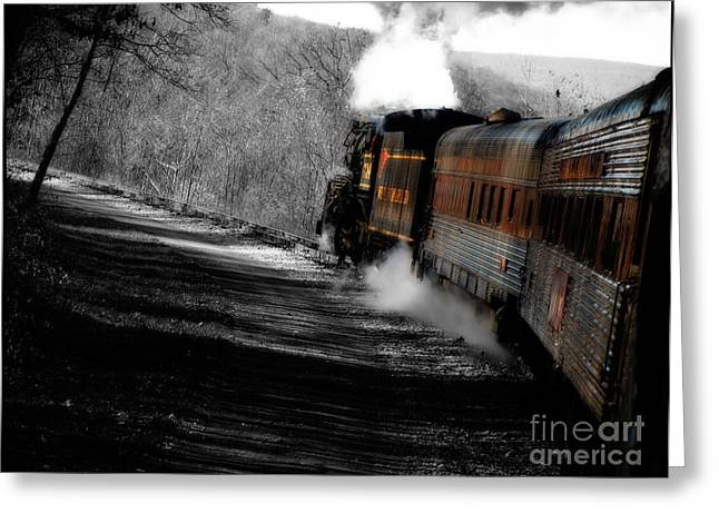 Train Photography Greeting Cards - Breaking the time barrier  Greeting Card by Steven  Digman