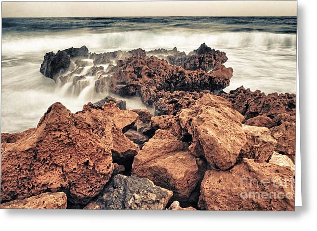Conditions Photographs Greeting Cards - Breaking The Waves Greeting Card by Stylianos Kleanthous