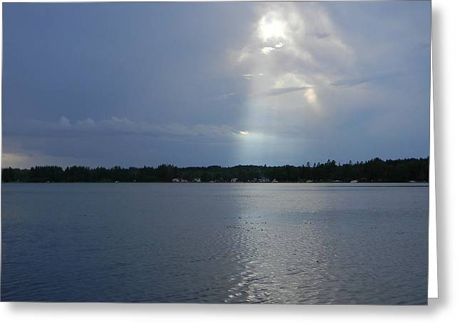 Sun Breaking Through Clouds Photographs Greeting Cards - Breaking Through Greeting Card by Mark Minier