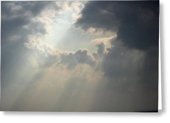 Sun Breaking Through Clouds Photographs Greeting Cards - Breaking Through Greeting Card by Martyn Bennett