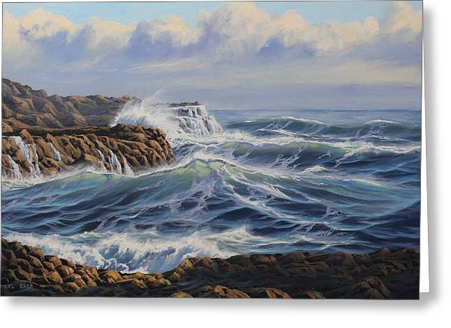 Aotearoa Greeting Cards - Breaking Waves at Whites Beach Greeting Card by Samuel Earp