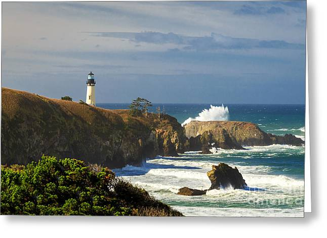 Yaquina Head Lighthouse Greeting Cards - Breaking Waves At Yaquina Head Lighthouse Greeting Card by James Eddy