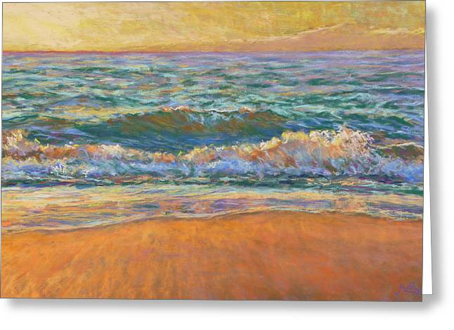 Waves Pastels Greeting Cards - Breaking Waves Greeting Card by Michael Camp