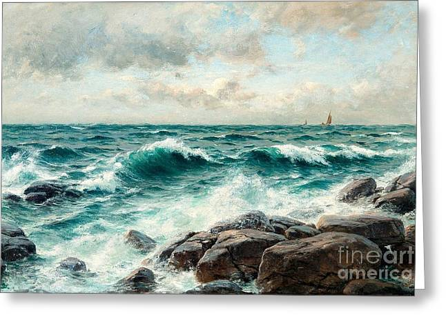 Oslo Paintings Greeting Cards - Breaking Waves On The Beach Greeting Card by Berndt Lindholm