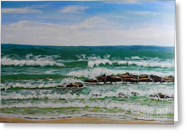 Sand Art Greeting Cards - Breaking Waves Greeting Card by Pamela  Meredith