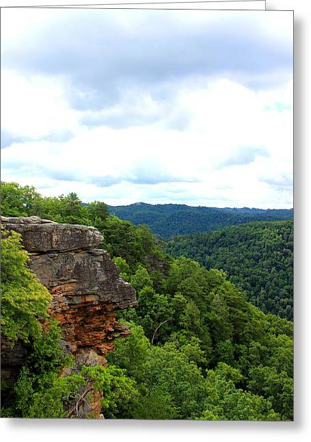 View Mixed Media Greeting Cards - Breaks Interstate Park Virginia Kentucky Rock Valley View Overlook Greeting Card by Design Turnpike