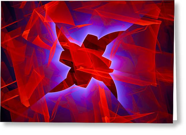 Breakthrough Greeting Cards - Breakthrough - abstract digital art red blue black Greeting Card by Matthias Hauser